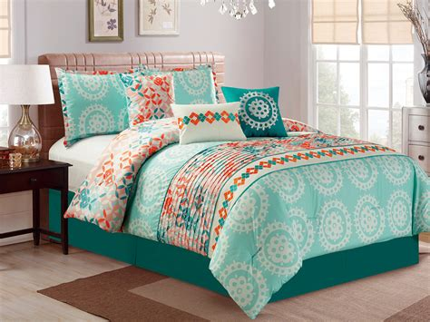 teal and orange comforter 11p helm diamond leaf pleated comforter curtain set green