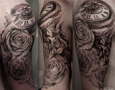 half open rose tattoo pocket sleeve tags bird clockwork half