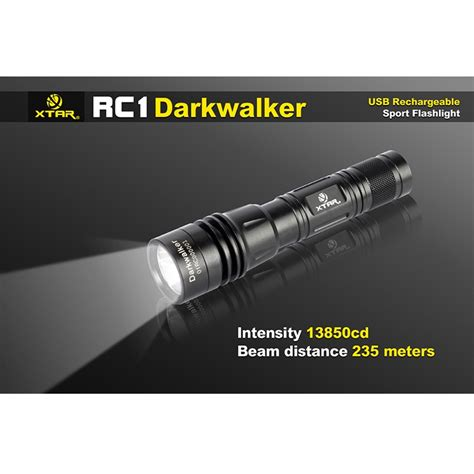 xtar rc1 darkwalker usb rechargeable senter led cree xp l v6 800 lumens black