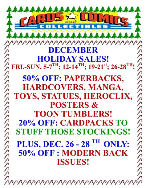 holiday sales every weekend cards comics collectibles