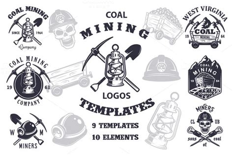 design mine graphics set of vintage mining emblems logo templates on creative