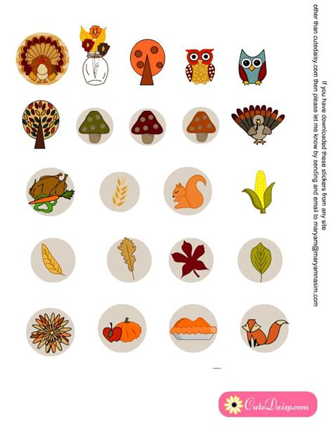 printable turkey stickers free printable stickers for thanksgiving free planner
