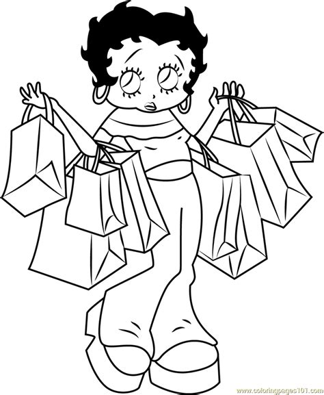 betty boop going for shopping coloring page free betty