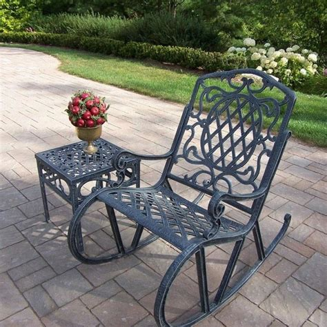 oakland living mississippi cast aluminum patio rocking