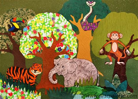wallpaper craft animals forest collage craft kids crafts firstpalette com