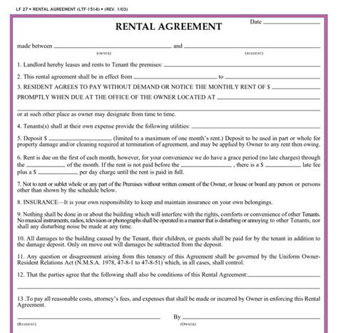 1 year lease agreement ontario 13 best images of simple rent agreement simple rental