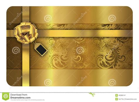 Credit Card Template Gold Gold Business Or Gift Card Template Stock Illustration