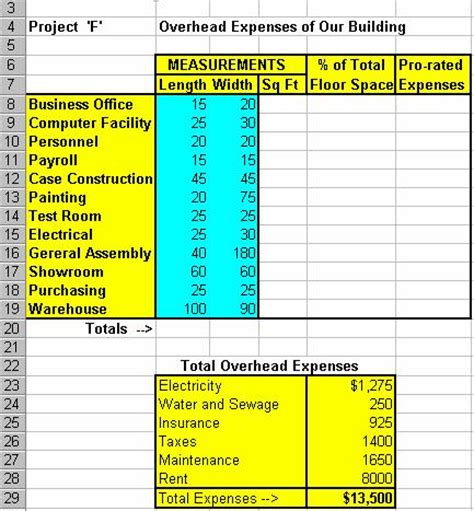 Overhead Calculation Spreadsheet by Web 1 Overhead Expenses Project