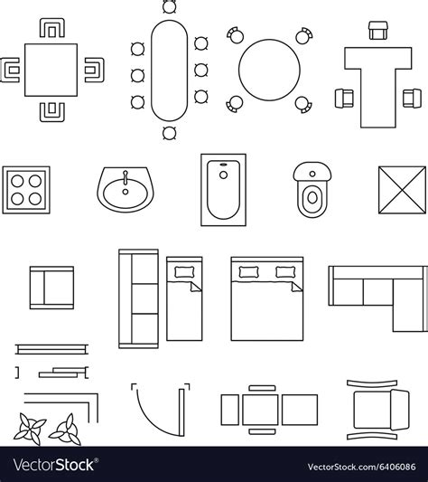 furniture layout meaning furniture linear symbols floor plan icons vector image