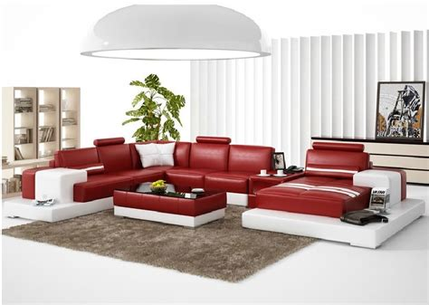 red and white sectional divani casa 6137 modern red and white leather sectional sofa