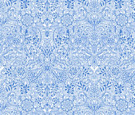Detailed Botanical Doodle Blue On White Fabric Micklyn
