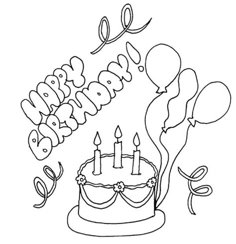 coloring pages happy birthday card