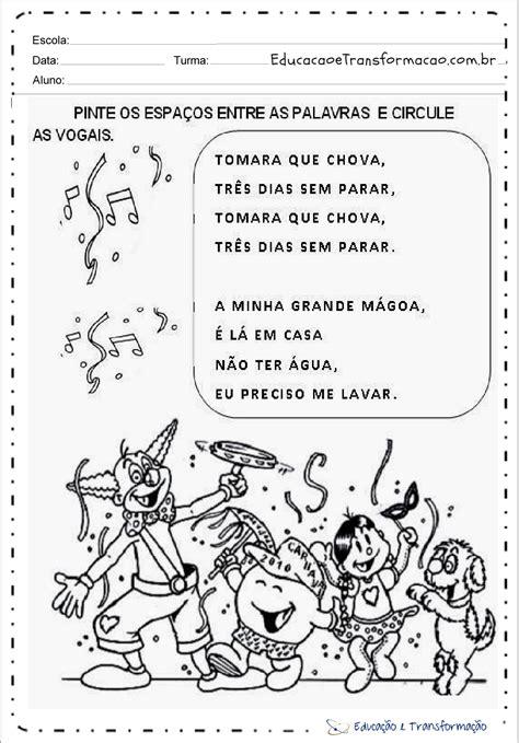 Atividades de Carnaval 1 ano - Circule as vogais