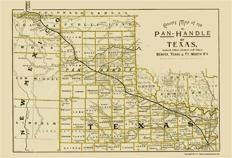 texas panhandle county map railroad maps texas panhandle denver texas ft worth rr by northrup 1888