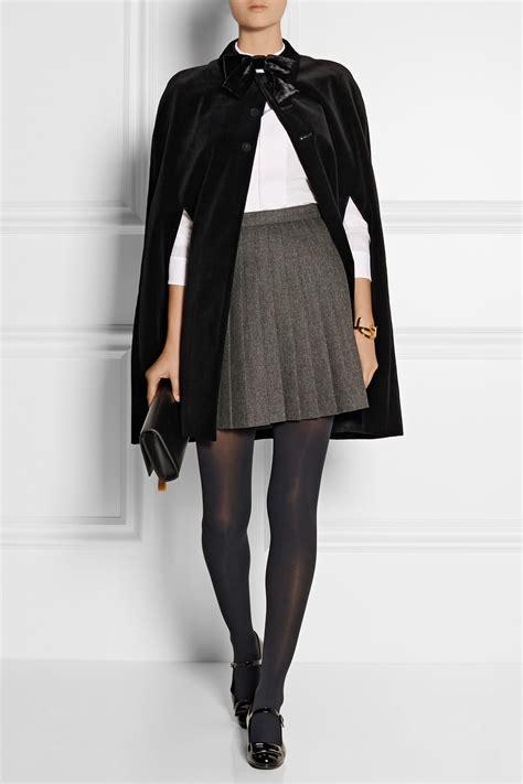 laurent pleated wool mini skirt in gray lyst