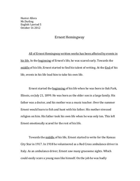 ernest hemingway biography resume all of ernest hemingway written works has been affected by