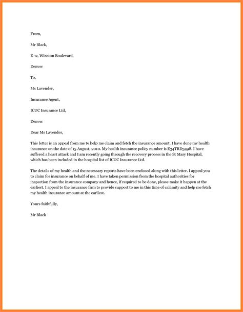 Letter Format For Insurance Claim 6 Insurance Letter Template Insurance Letter