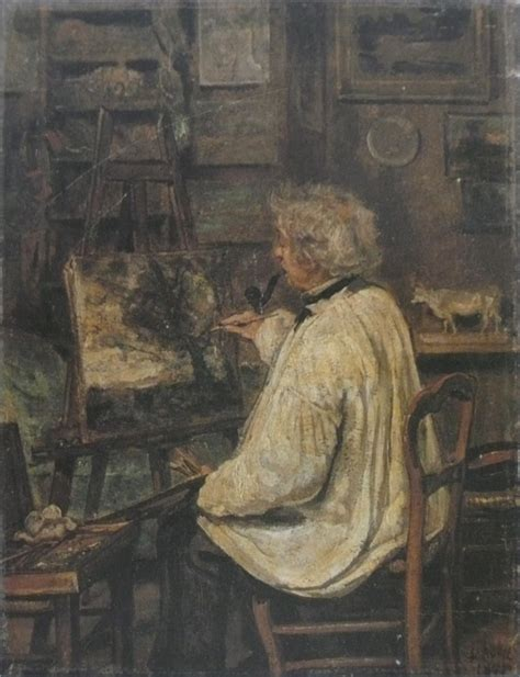 a painter corot painting in the studio of his friend painter