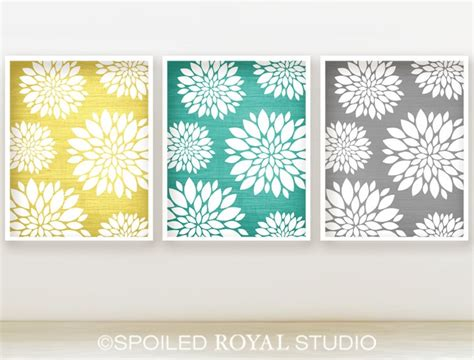yellow and teal bathroom floral peony pattern prints 8x10 set of 3 yellow
