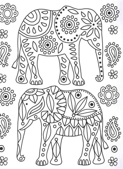elephant coloring bohemian elephant coloring pages