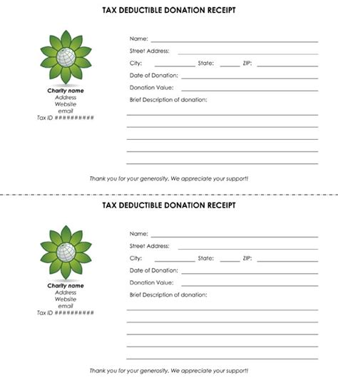 tax receipt template tax deductible donation receipt