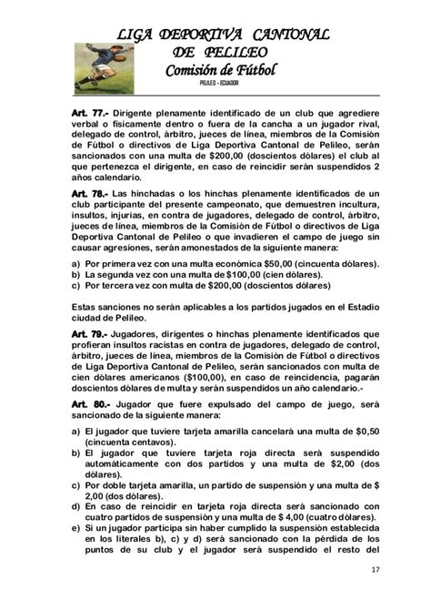 reglamento de futbol ecuador 2016 proyecto de reglamento de futbol 2016 apro comi y dir 2