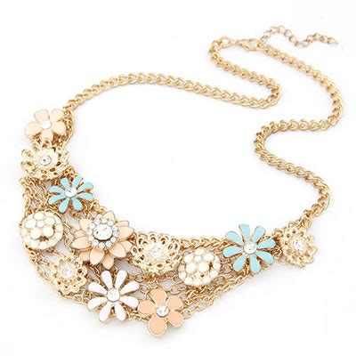 Kalung Elegan Pendant recycled multicolour flower alloy bib necklaces asujewelry