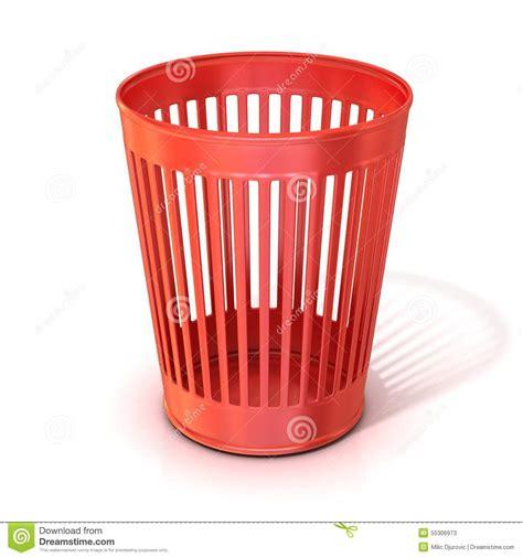 Wastepaper Basket Empty Red Trash Bin Garbage Can Stock Illustration