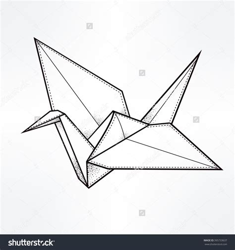 Origami Bird Drawing - japanese crane clipart paper crane pencil and in color