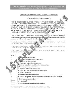 california probate code section 4401 fillable online uniform statutory form power of attorney