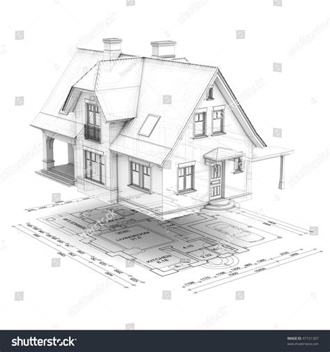 the value of your house over and above the mortgage a wireframe house raised above the floor plan isolated on white background stock