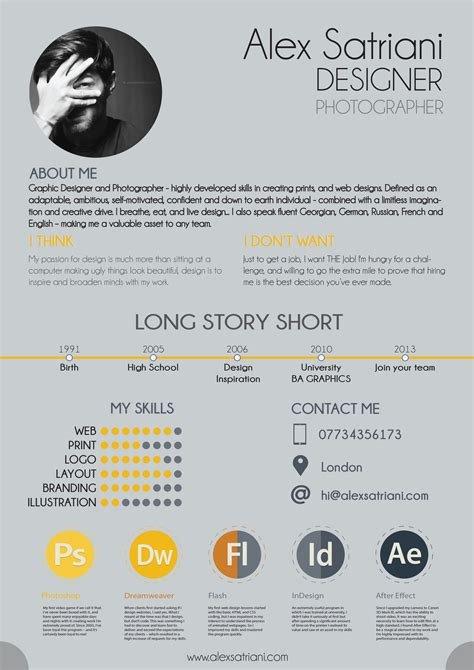 Resume About Me Creative Amazing Resume Design Exles