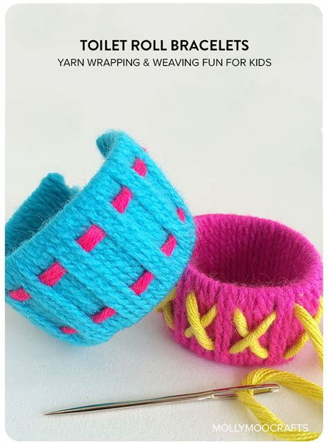 MollyMooCrafts Simple toilet roll crafts for kids: toilet roll bracelets