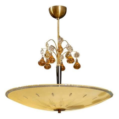 bowl chandelier swedish orrefors mid century etched bowl and