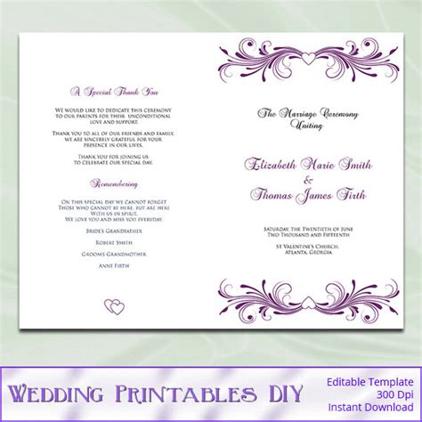 diy wedding program template wedding program template diy printable plum purple
