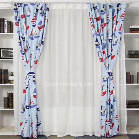 boat curtains for sale red and blue boat pattern cotton nautical design idea kids