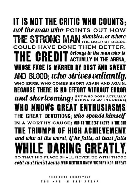 printable theodore roosevelt quotes theodore roosevelt the man in the arena quote poster by
