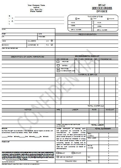 hvac receipt template hvac form sle hvac invoice templates