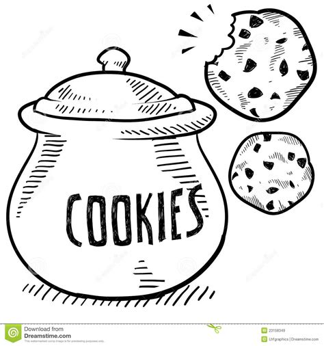 cookie doodle free cookie jar sketch stock vector image of kitchen