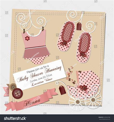 templates for baby shower in vector from stock 25 eps scrapbook baby shower invitation template vector stock