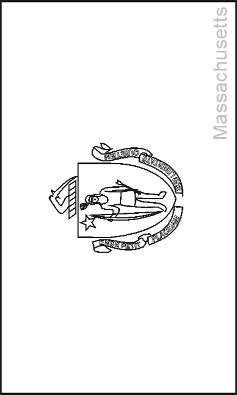 massachusetts state flag coloring pages usa for kids