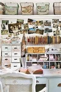 Craft Rooms Ideas Decorating - like the use of the cubby holes to make use of a deep table and the wire baskets at the top