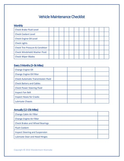 vehicle service checklist template vehicle maintenance checklist homestead