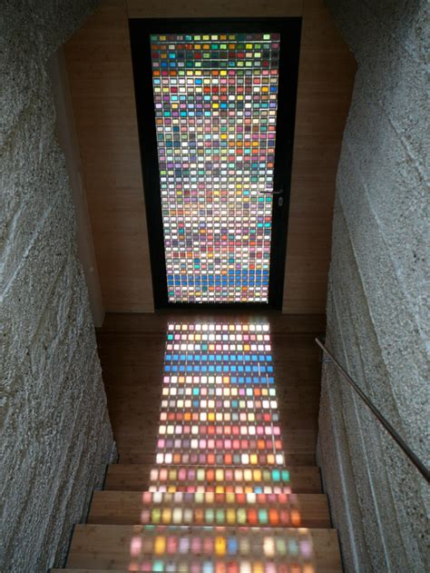 A Stained Glass Door Made Of Pantone Swatches Designtaxi Com Mosaic Glass Door