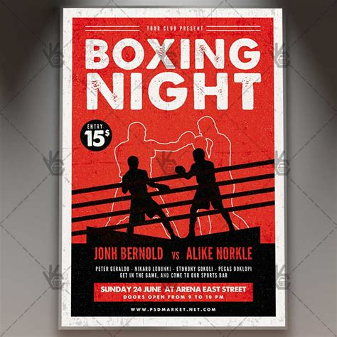 free boxing fight card template boxing premium flyer psd template psdmarket