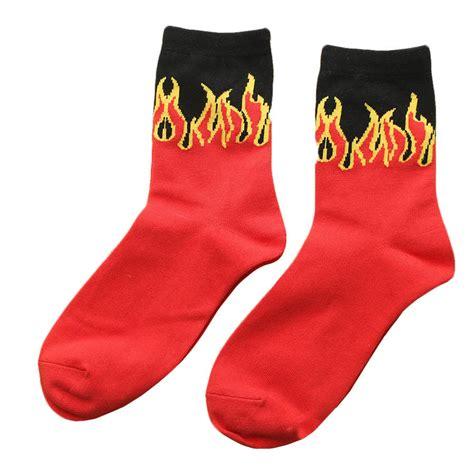 red pattern socks new men s red flame pattern cotton socks skateboard hip