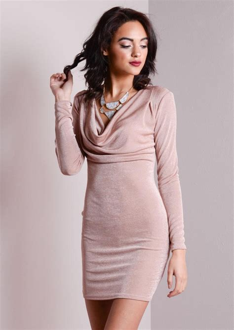 Sleeve Cowl Neck Dress sleeve cowl neck shimmer bodycon dress dusty pink