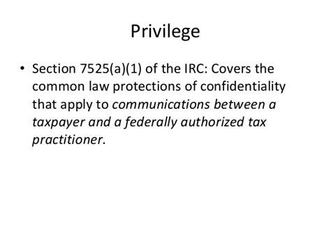 section 7525 privilege anatomy of a civil tax controversy