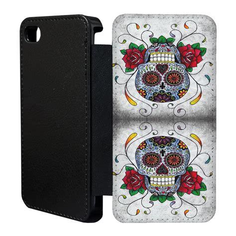 Beautifull Skull Iphone 6 6s Custom Flip sugar skull flip cover for apple iphone 4 4s 5 5s 6 plus 12 ebay