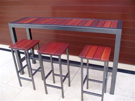 furniture long narrow high top metal wood combo outdoor